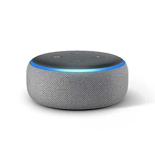 Echo Dot (3. Gen.) Intelligenter Lautsprecher mit Alexa, Hellgrau Stoff