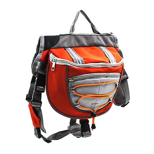 HaiQianXin Polyester Hund Satteltaschen Rucksack Satteltasche für Reisen Camping Wandern (Color : Orange, Size : L)