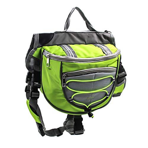 HaiQianXin Polyester Hund Satteltaschen Rucksack Satteltasche für Reisen Camping Wandern (Color : Green, Size : L)