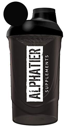 ALPHATIER BEASTMODE Shaker schwarz 600 ml für unterwegs - Sport Fitness Bodybuilding - mit Schraubverschluss und Siebeinsatz - BPA-frei - Classic black