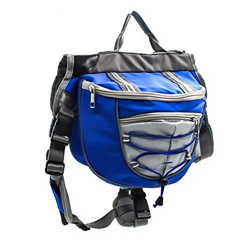 HaiQianXin Polyester Hund Satteltaschen Rucksack Satteltasche für Reisen Camping Wandern (Color : Blau, Size : M)