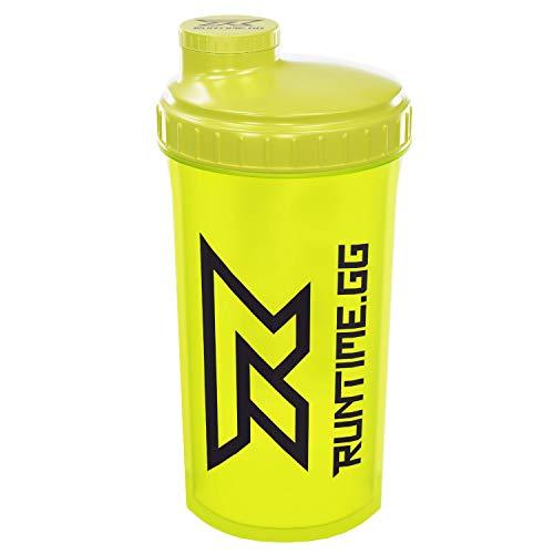 Runtime Protein-Shaker | Sport-Flasche für Nutrition und Fitness | 700ml Fassungsvermögen | mit Sieb - 100% dicht | BPA-frei - inkl. Messskala - transparent (Neon Yellow)