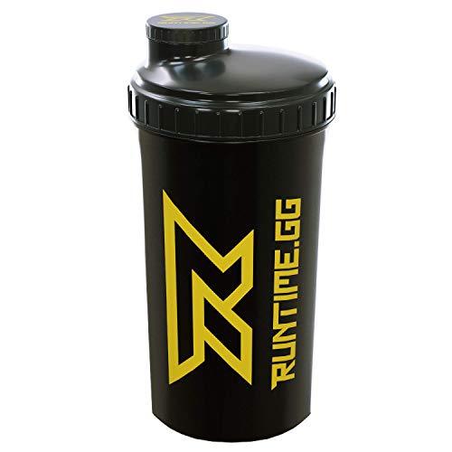 Runtime Protein-Shaker | Sport-Flasche für Nutrition und Fitness | 700ml Fassungsvermögen | mit Sieb - 100{ab3c286fbdfb03b0d5f1f8661366306b51b5ff9748fa17884c3edc01d2b6e16a} dicht | BPA-frei - inkl. Messskala - transparent (Black Yellow)