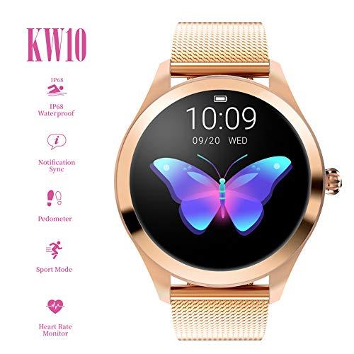 ZDY Smart Watch KW10, Runder Touchscreen IP68 wasserdichte Smartwatch für Frauen, Fitness Tracker mit Herzfrequenz- und Schlaf-Pedometer, Armband für IOS/Android.