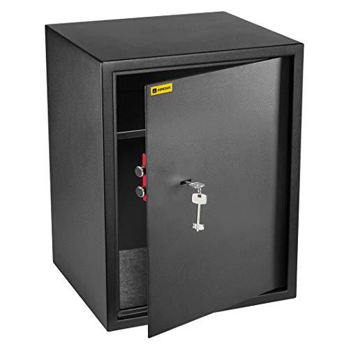 Homesafe HV50K Tresor Safe mit Schlüssel-Schloss, 50x35x35cm (HxWxD), Carbon Satin Schwarz