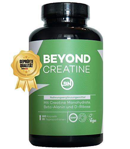 Beyond CREATINE Kapseln mit Kreatin Monohydrat, ideal dosiert mit D-Ribose, Beta-Alanin & Piperin - 180 vegane Kapseln, Sportnahrung ohne Zusatzstoffe