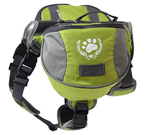 blackgoddy Hund Rucksack verstellbar Pack Satteltasche Stil Hund Zubehör für Wandern Camping Reise (M, Green)