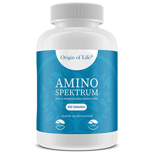 AMINO SPEKTRUM - 320 Tabletten vegan - Hochdosiert mit je 1000mg für 40 Tage - Komplex aus 18 Aminosäuren inkl. 8 EAA´s & BCAA - Laborgeprüft - Hergestellt in Deutschland ohne Magnesiumstearat