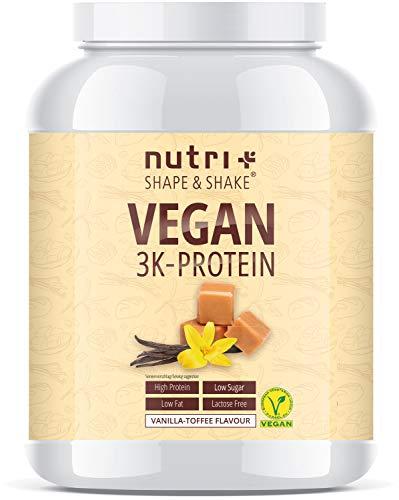 PROTEIN VEGAN Vanilla Toffee 1kg - 80,8% Eiweiß - 3k-Proteinpulver Vanille Karamell - laktosefreies Eiweißpulver Low Sugar - Nutri-Plus Shape & Shake Pulver - 1000g Eiweißshake