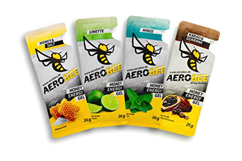 Probierpaket AEROBEE Energy Gel | Honey & Salt, Limette, Minze, Kakao & Guarana | Natürliches Energie Gel für Ausdauersport | Schnelle und dauerhafte Energie | Sehr bekömmlich | 4 Gel x 26g
