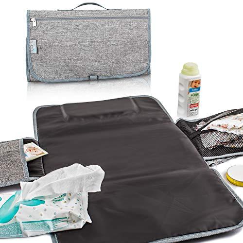 FUCHSI Tragbare Wickelunterlage mit Kopfpolster | portable Wickelauflage für Unterwegs | gepolsterte Windeltasche, wasserdicht, langlebig, faltbar - grau