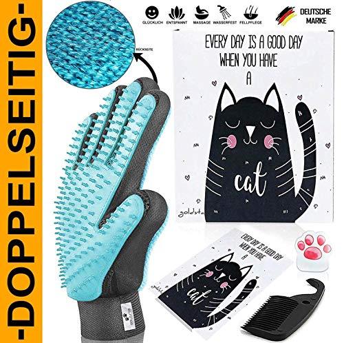 LÖWENKÖNIG® Innovativer 3in1 Haustier Bürstenhandschuh I Fellpflegehandschuh I Katzenbürste I Enthaarungs-Bürste Fellbürste für Hunde-Katzenhaare I Katzen-Zubehör I