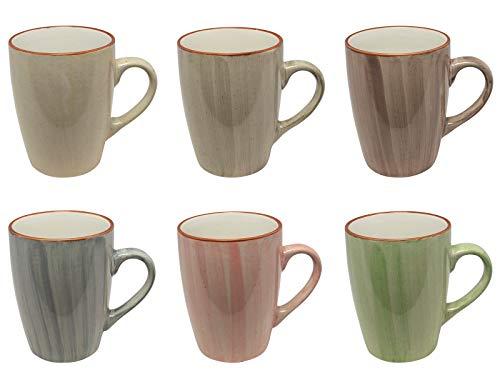 MC Trend 6er Set Kaffeebecher - 6 wunderbare harmonische Farben Porzellan Tassen Geschirr Kantine Küche zu Hause 350 ml (6er Set Gruen-Rose-BLAU-Taupe-GRAU-Creme)