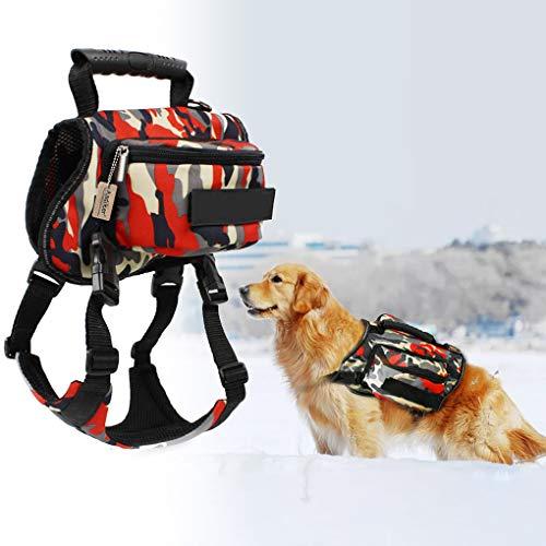 Andiker Haustier-Satteltasche Hundegeschirr Rucksack-Tragetasche, verstellbar, leicht, Zubehör für mittelgroße und große Hunde zum Wandern, Camping, Training im Freien(XL)