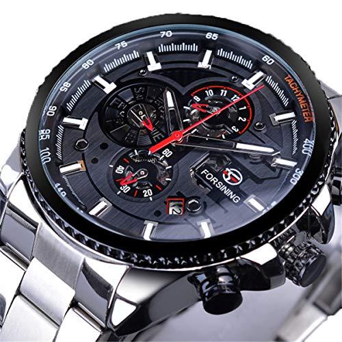 Forsining Herren Armbanduhr, Fashion Business Casual Handaufzug mechanische Uhr mit Edelstahl Armband Bezel Skelett Zifferblatt,colorB