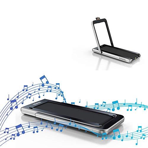 Fitifito ST100 Edles Laufband im Büro zuhause unter Schreibtisch 1.0-12 km/h Bluetooth Fernbedienung komplett klappbar verstaubar mit Handyhalter Silber