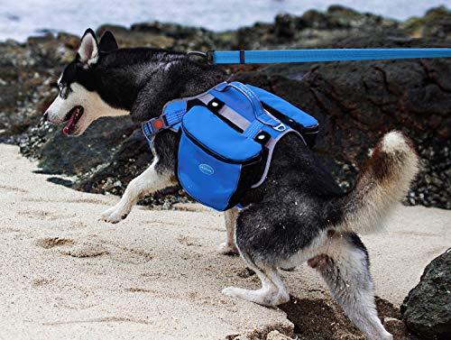 ThinkPet Outdoor Hunderucksack Reflektierende Satteltasche - Hunderucksack Doppeltasche für Hound-Reiserucksack für mittelgroße Hunde