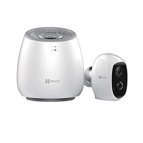 EZVIZ Full HD WiFi Drinnen / Draußen, inkl. Akku-Kamera und 4G LTE Hub mit integrierter Sirene