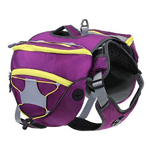 HAPPY HACHI Hunderucksack Hundegeschirr Haustier Einstellbar Abnehmbar Satteltasche Wasserdicht Wandern Camping (Orange, L)