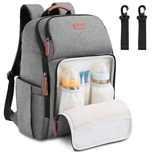 NEWHEY Baby Wickelrucksack Wickeltasche Multifunktional Große Kapazität Babytasche Reiserucksack und 2 Kinderwagen Gurten für Unterwegs 28L Grau