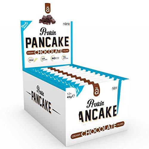 Nanosupps ä Protein PANCAKE Protein Snack - HIGH PROTEIN LOW CARB - LOW SUGAR Fitnessriegel - Leckerer Fitnesssnack - Eiweißriegel für Diät - Ohne Zuckerzusatz und KALORIENARM - 12 Pancakes Chocolate