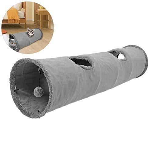 Oyria 30 * 130cm zusammenklappbares Katzentunnel Spielzeug, großer Katzenspieltunnel, Langer Kätzchentunnel mit 2 Löchern, weicher Katzenspieltunnel, warmes Schlafröhrenbett für Katzenhunde