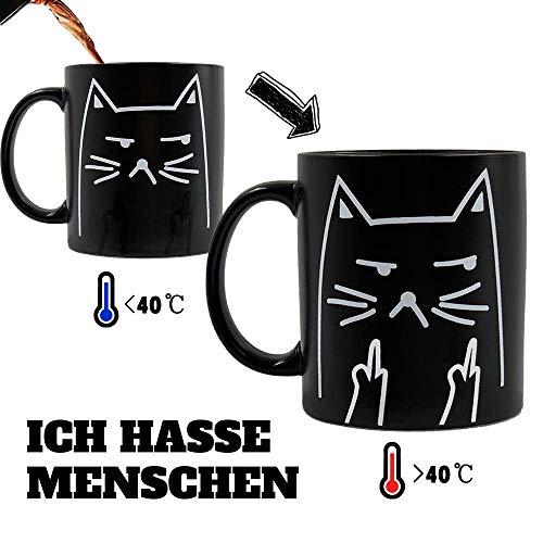 Onebttl Katzen Tasse Lustige Tasse mit sprüchen 'ICH Hasse Menschen' Zaubertasse Kaffeebecher Kaffeetasse Farbwechsel Tasse Thermoeffekt Perfekte Geschenkoption Neko