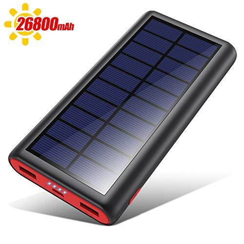 VOOE Solar Powerbank 26800mAh Externer Akku, Solar Ladegerät mit 2 Ausgänge, Solar Power Bank mit Automatische Erkennen Technologie, Solar Akkupack Power Pack für Smartphones, Tablets und USB-Geräte