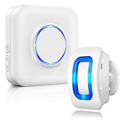 Kabellose Haussicherheits Alarmanlage mit Bewegungsmelder-Alarm Detektor, 1 Bewegungsmelder und 1 Steckempfänger, 58 Glockentöne, LED-Anzeigen, für Familie, Haus und Geschäft, Garage