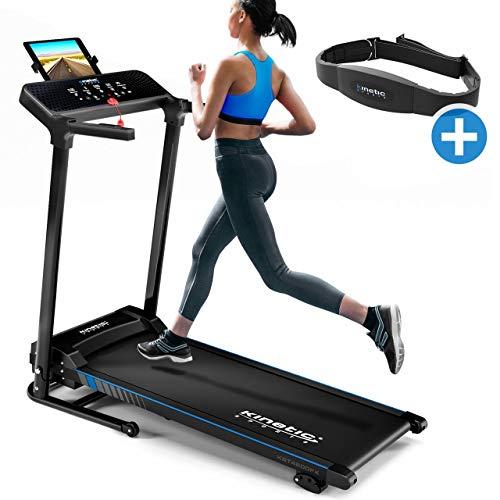 Kinetic Sports KST4600FX Laufband inkl. Pulsgurt klappbar elektrisch 1100 Watt leiser Elektromotor 12 Programme, bis 120kg, bis 12 km/h, GEH- und Lauftraining, Tablethalterung, Steigung verstellbar