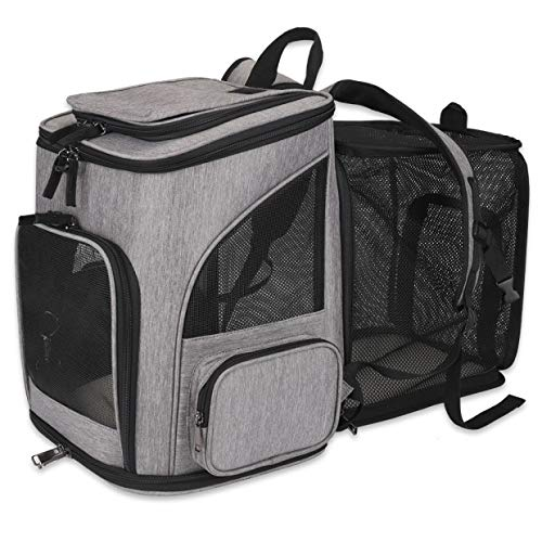 FREESOO Halovive Haustier-Rucksack erweiterbar, Netzstoff, atmungsaktiv, faltbar, für kleine Hunde, Katzen, Kaninchen unter 11 kg