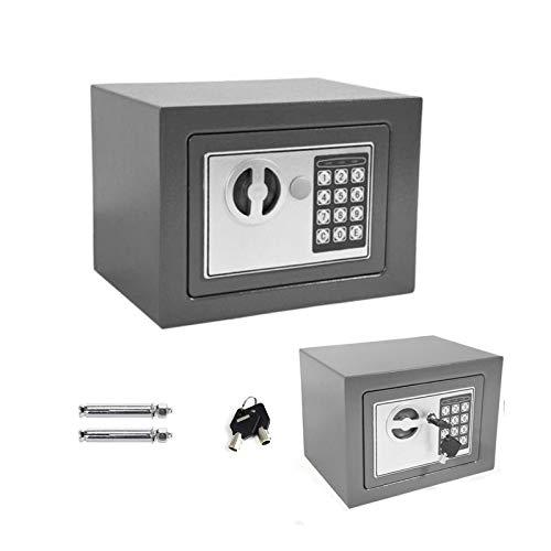 Tresor Wandtresor Möbeltresor mit Elektronikschloss Zahlenschloss und Schlüssel Mini Tresor mit Code Starker Haltbarer Stahl Safe 4.6L - Grau