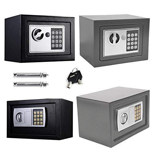 Safe Tresor mit Schlüssel mit Elektronischem Zahlenschloss Möbeltresor Wandtresor Numerische Digital Elektronische Sicher, 4.6L -Grau