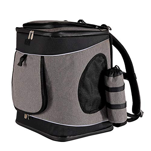 dibea Hunderucksack Hundetransporttasche Haustiertragetasche grau-schwarz