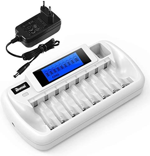 BONAI Akku Ladegerät 9 Slot LCD Batterieladegerät Universal Akkuladegerät für AA/AAA/9V NI-MH NI-CD Wiederaufladbare Batterien mit Akkus Entladungsfunktion