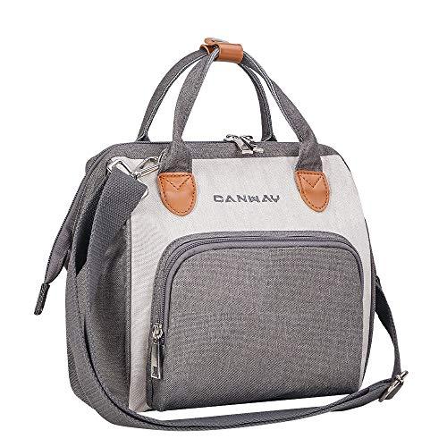 CANWAY Baby Wickeltasche Henkeltasche Multifunktionale Windeltasche Wasserdicht Babytasche für Mama und Papa Grau&Weiß S-Größe