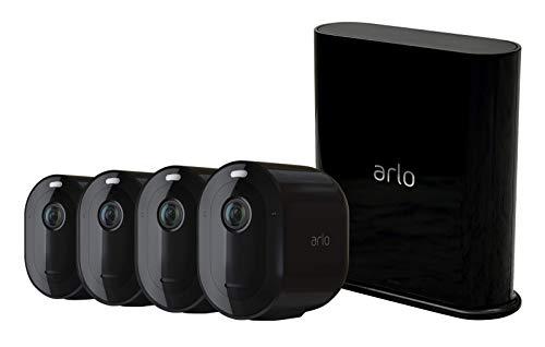 Arlo Pro3 Überwachungskamera & Alarmanlage, 2K UHD, 4er Set, Smart Home, kabellos, Innen/Außen, Farbnachtsicht, 160 Grad Blickwinkel, WLAN, 2-Wege Audio, Spotlight, Bewegungsmelder, VMS4440B, Schwarz