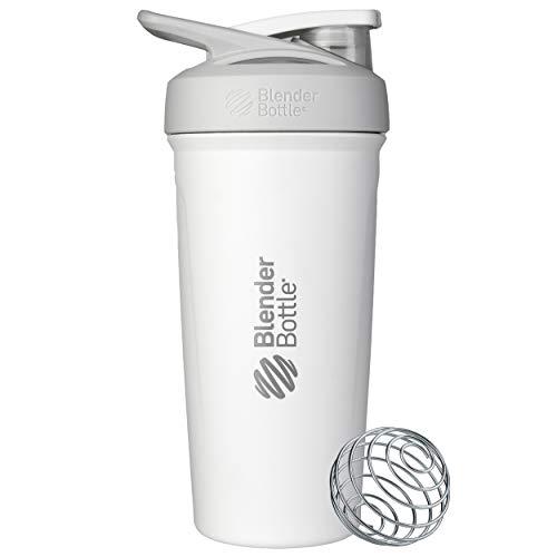 BlenderBottle Strada - Edelstahl Trinkflasche, Thermoflasche mit BlenderBall, Protein Shaker und Fitness Shaker, BPA frei, Doppelwandig, Vakuum isoliert - weiß, 375 g