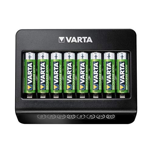 Varta Multi Charger+, Ladegerät für Akkus in AA/AAA/9V und USB Geräte, Einzelschachtladung, Erkennung von defekten Zellen, weltweit einsetzbar, 8 Ladeschächte