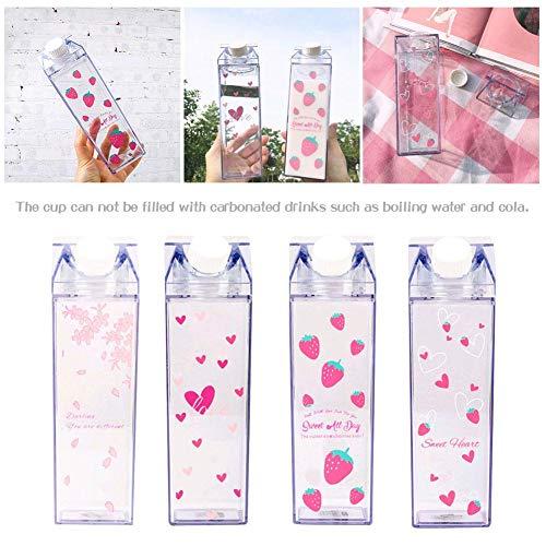 Renoble Sakura Milchbecher Tragbare Wasserflasche Milchaufbewahrung Sakura-Print Erdbeer-Print Sportgetränk Klare Tasse Milchbox Quadratische Tasse Für das Büro zu Hause favorable approving