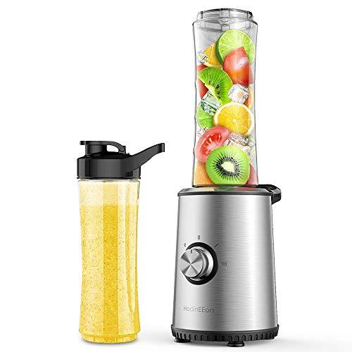 HadinEEon Mini Standmixer Smoothie Mixer, Elektrischer Entsafter aus Edelstahl für Smoothie, Shakes, Eis und Tiefkühlfrüchte, Babynahrung, mit 2x600ml BPA Freie Flasche 350W