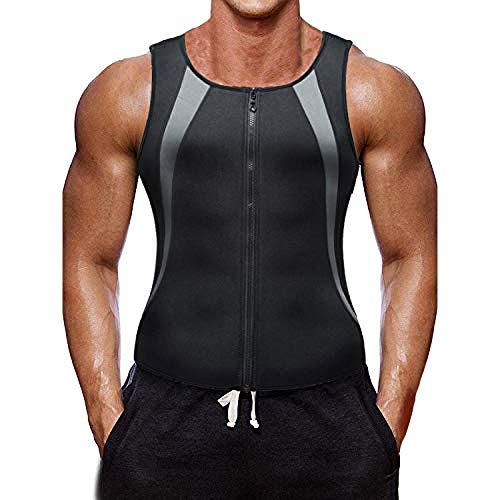 Herren Fitness Shape Shirt Bauchweg Training Weste Sauna Schwitzeffekt Tank Top stark formend Gym Bodyshape mit für den Muskelaufbau, das Cardio- oder Ausdauertraining geeignet (Mit Reißverschluss,M)