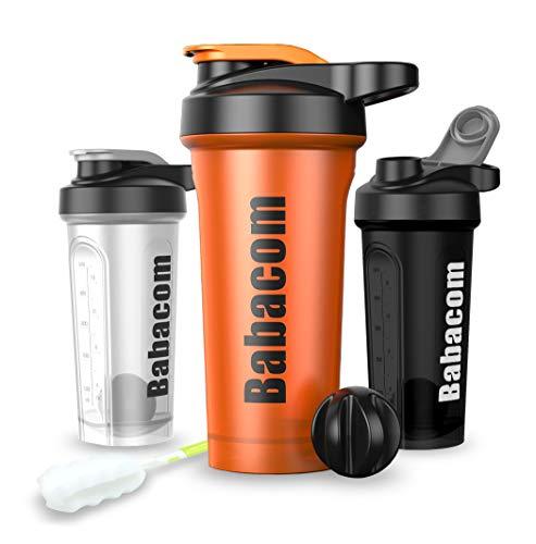 Babacom Shaker Protein Shaker Wasserflasche mit Blenderball Reinigungsbürste 28OZ/700ML Trinkflasche Für Sport und Fitnessleute BPA Frei Lebendiges Orange