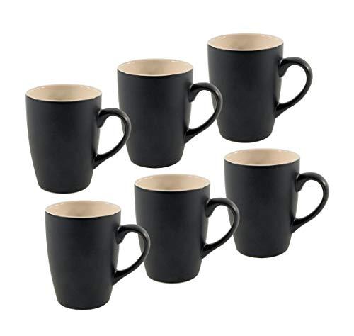 Spetebo Kaffeetasse 340 ml aus Porzellan in schwarz matt - 6er Set - Kaffeebecher Tasse Becher