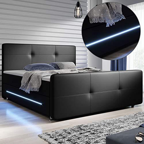 ArtLife Boxspringbett Oakland 180x200 cm mit 2 Federkern-Matratzen, Topper, LED-Beleuchtung – 58 cm Komforthöhe – Bett aus Kunstleder & Holz – schwarz