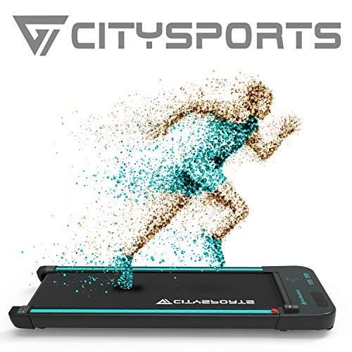 CITYSPORTS Elektrischer 440-W-Laufband, Bluetooth-Lautsprecher, einstellbare Geschwindigkeit, LCD-Bildschirm und Kalorienzähler, ultradünn und leise, für Heim/Büro