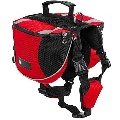 Hunderucksack Satteltasche für Mittlere und Große Hunde - Packtaschen Rucksack Reflektierende Wasserdicht für Reisen Camping Wandern Ausbildung, Geschirr Verstellbare Kabelbaumweste mit Griff (M, Rot)