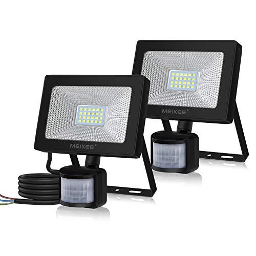 MEIKEE 20W LED Strahler mit Bewegungsmelder 2000LM Superhell LED Fluter mit Sensor IP66 Wasserdicht Außenstrahler Flutlichtstrahler Scheinwerfer für Garten Garage Sportplatz, 2 Pack