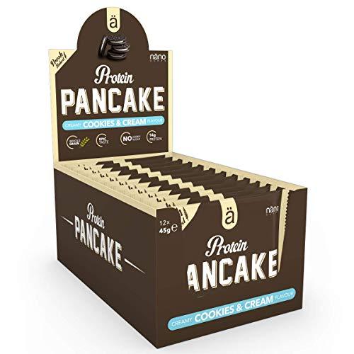 Nanosupps ä Protein PANCAKE Protein Snack - HIGH PROTEIN LOW CARB - LOW SUGAR Fitnessriegel - Leckerer Pancake Snack - Ideal für Diät - Ohne Zuckerzusatz und KALORIENARM - Cookies & Cream