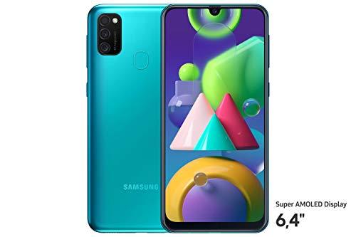Samsung Galaxy M21 Android Smartphone ohne Vertrag, 3 Kameras, großer 6.000 mAh Akku, 6,4 Zoll Super AMOLED Display, 64 GB/4 GB RAM, Handy in grün, deutsche Version
